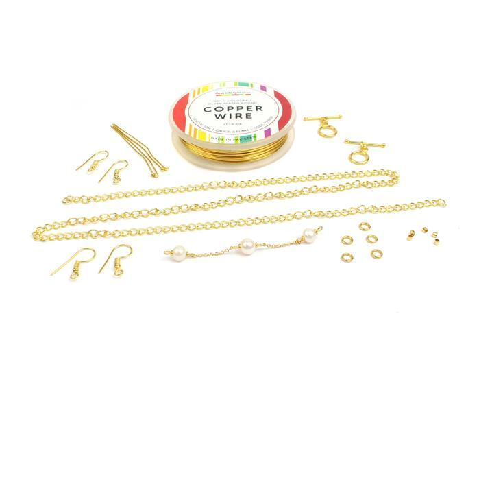 Gold Wire Writing Kit: 0.8mm Wire, Freshwater Pearl Connectors & Findings