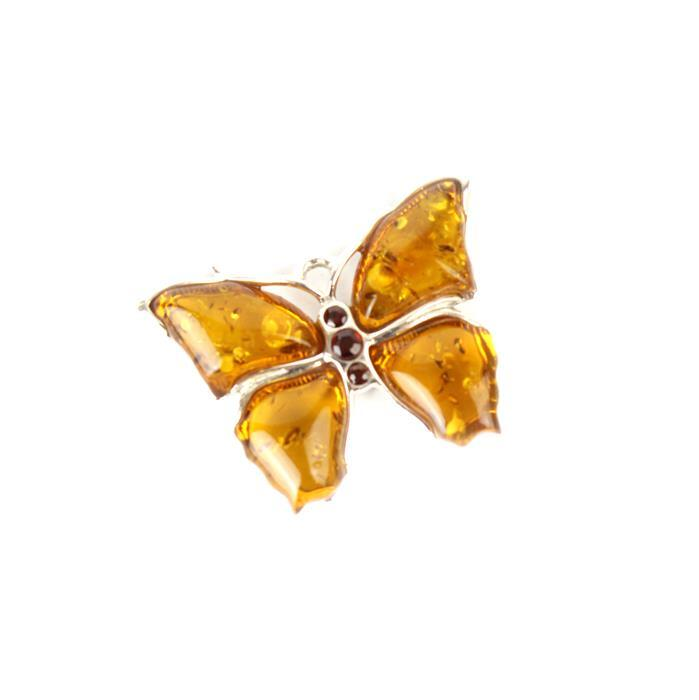 Baltic Cognac Amber Fancy Butterfly with 925 Sterling Silver Element Approx 25x19mm