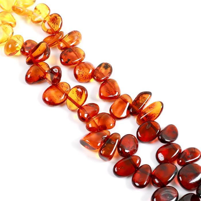 Baltic Ombre Amber Nuggets Approx 6x10 to 10x18mm, 38cm Ombre Strand