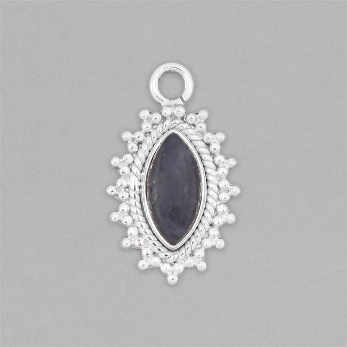 925 Sterling Silver Gemset Pendant Approx 27x16mm Inc. 2.80cts Tanzanite Marquise Cabochon Approx 14x7mm