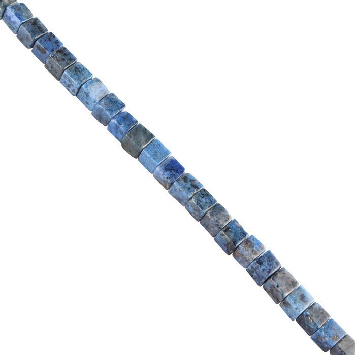 45cts Dumortierite Plain Cubes Approx 4mm, 18cm Strand.