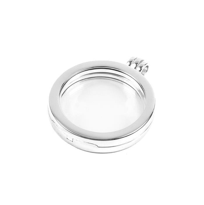 925 Sterling Silver Round Memory Locket - 30mm (1pc)