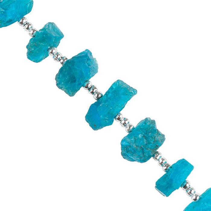 20cts Neon Apatite Graduated Rough Nuggets Approx 6x2 to 13x5mm, 6cm Strand.