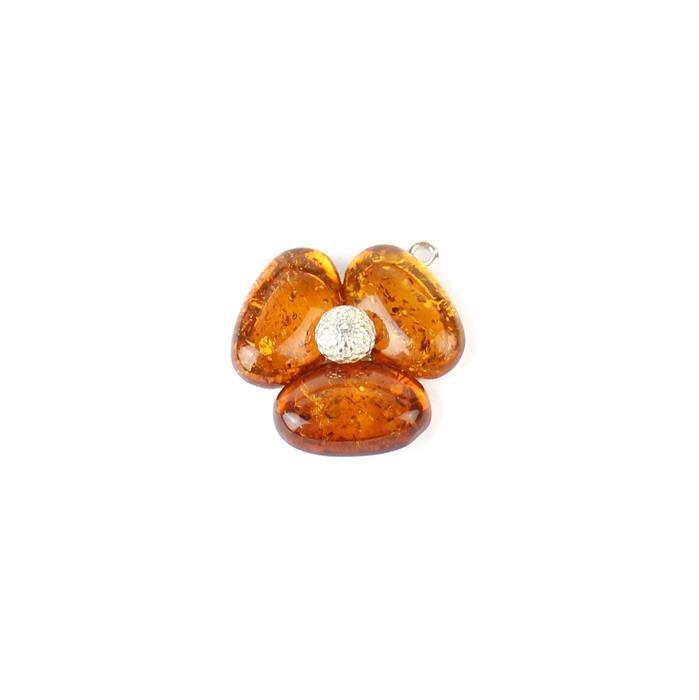 925 Sterling Silver Baltic Cognac Amber 3 Petal Poppy Pendant Approx 24x20mm