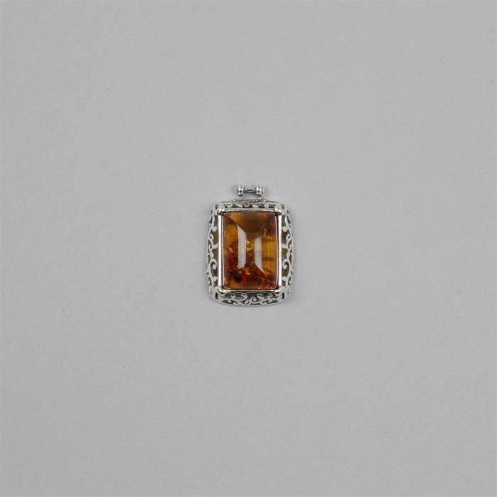 Baltic Cognac Amber Rectangular Cabochon with Sterling Silver Element Approx 22x16mm