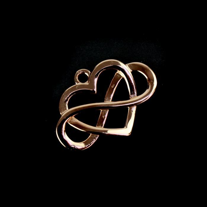 Rose Gold Plated 925 Sterling Silver Eternal Love Pendant Approx 18x25mm