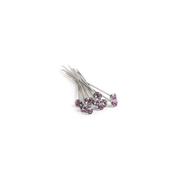 Swarovski Headpin 17704 Light Rose with Rhodium Plating, PP24, 0.05x3.81cm, 12pk