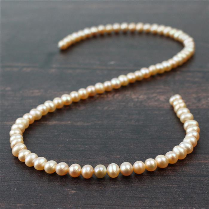 Pink Freshwater Cultured Potato Pearls Approx 5x6mm, Approx 38cm Strand