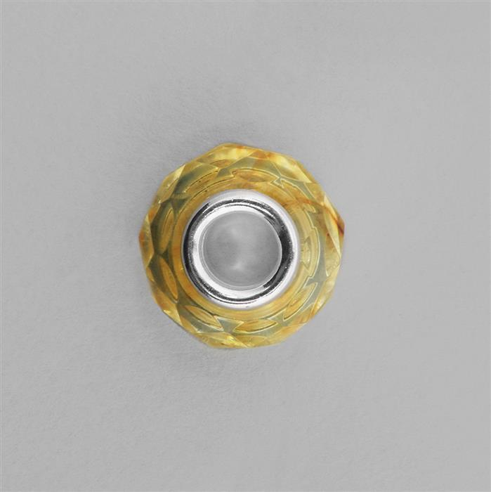 Lemon Baltic Amber Hollow Faceted Spacer Bead inc 925 Sterling Silver Approx 14x9mm