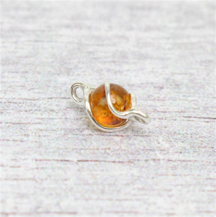 Baltic Cognac Amber Swirl Round Bead Connector Approx 7mm Sterling Silver