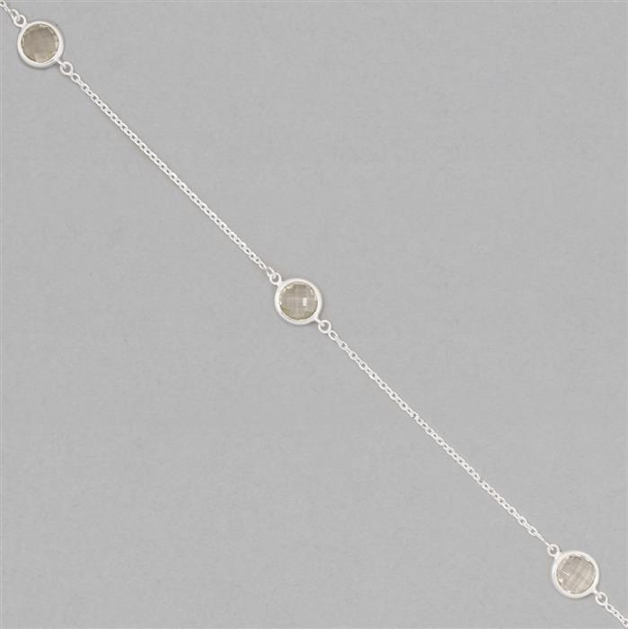 925 Sterling Silver Gem Set Chain Approx 2x1mm Inc. 9.50cts Green Amethyst Round Briolette Approx 8mm, Length Approx 50cm