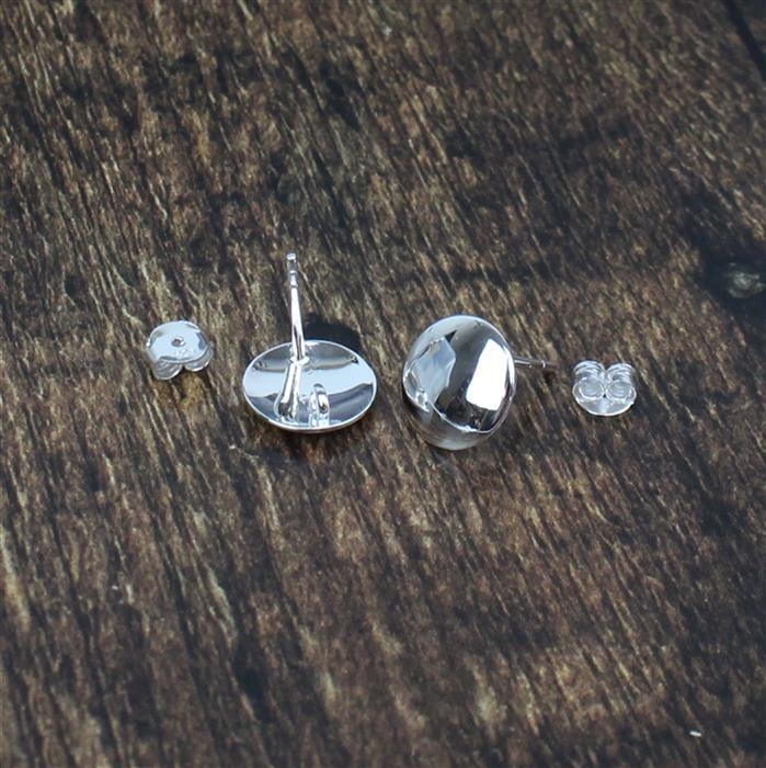 925 Sterling Silver Puff Circle Earring Post With Butterfly Back Approx 10mm, 1 pair
