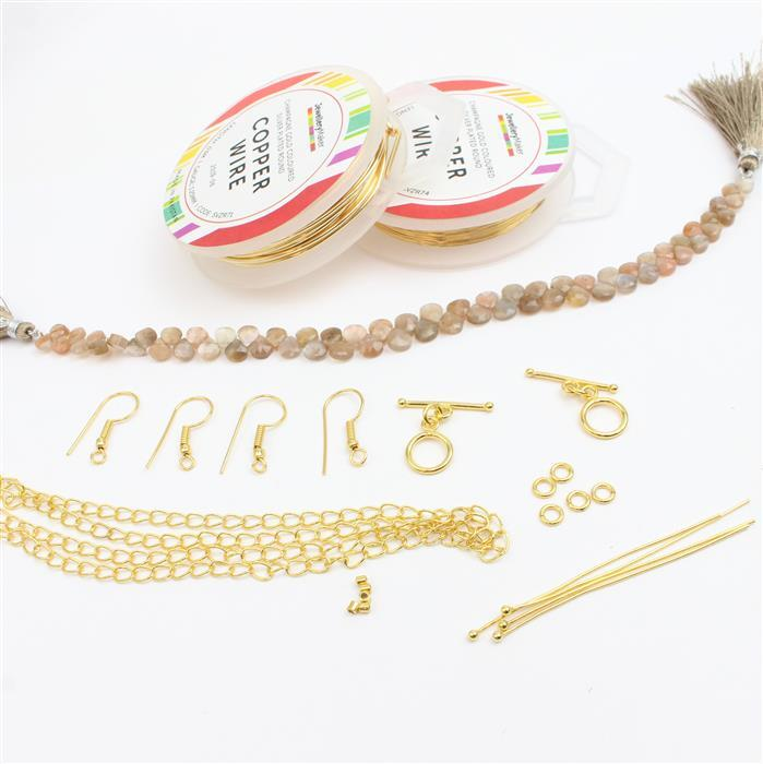 Honey Locust INC Peach Moonstone, 1.25mm & 0.4mm Gold Wire & Findings