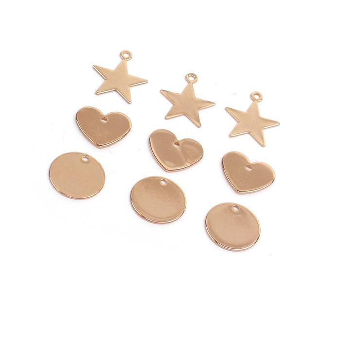 Rose Gold Plated Circle, Heart & Star Blanks, Approx 12mm, 12x11mm & 13x15mm (9pk)