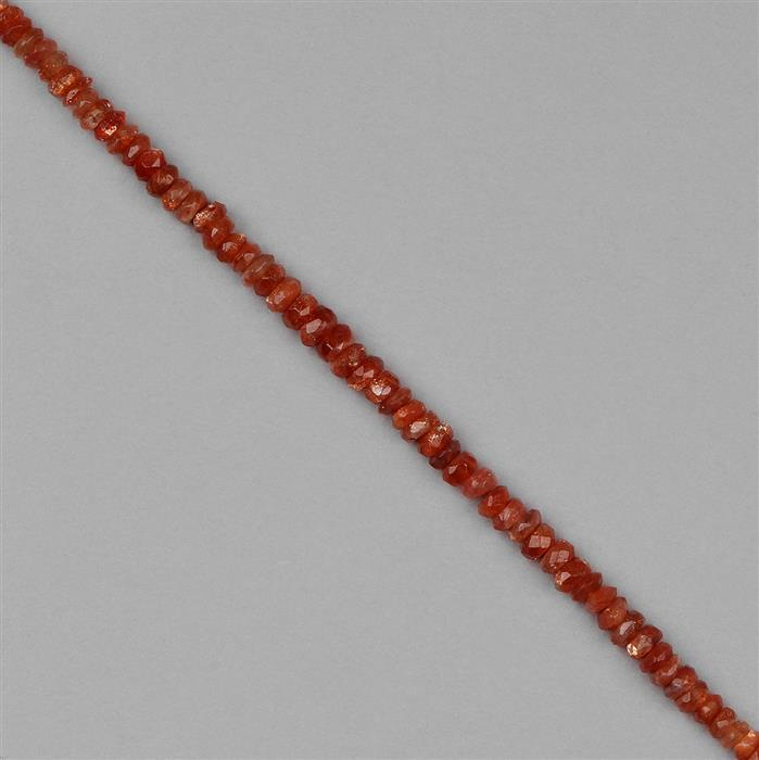 30cts Sunstone Graduated Faceted Rondelles Approx 2x1 to 5x2mm, 18cm Strand.