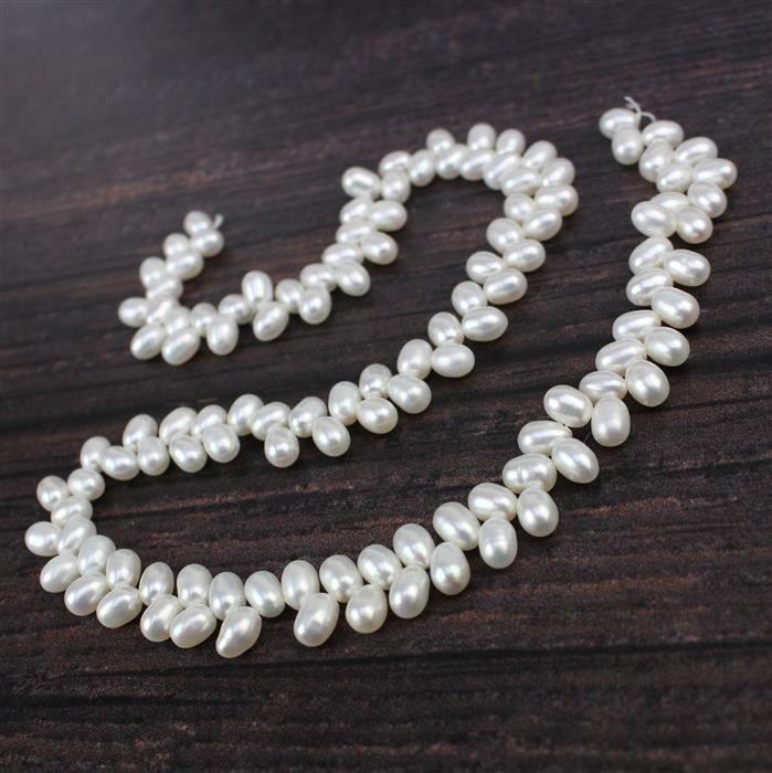 White Freshwater Cultured Wheat Pearls Approx 4.5-5.5mm, Approx 38cm/strand