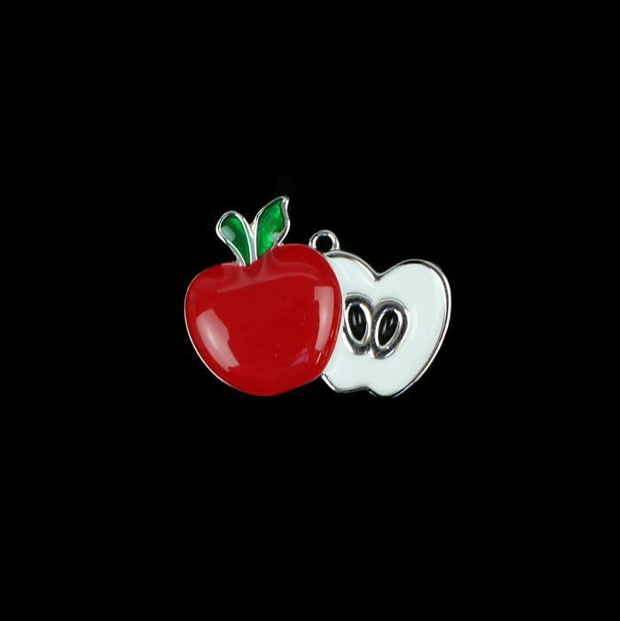 925 Sterling Silver Enamel Apple Pendant Approx 30mm, 1pcs