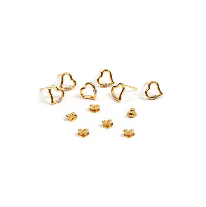 925 Sterling Silver Gold Plated My CZ Heart Earrings with Butterfly Back Approx 9mm 3 Pairs