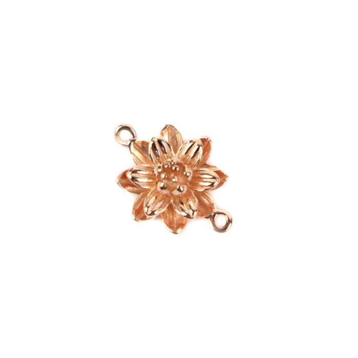 Rose Gold Plated 925 Sterling Silver 3d Lotus Flower Connector 12 X