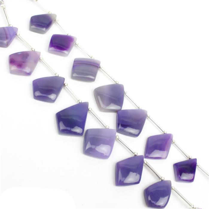 2 x 85cts Purple Agate Graduated Plain Shields Approx 22x15 to 24x18mm, 12cm Strand.
