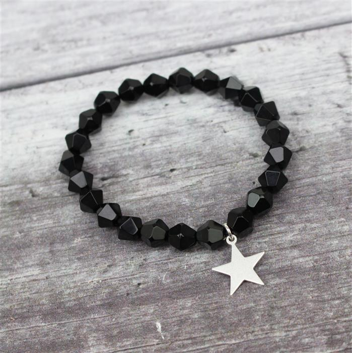 Night Sky; 925 Sterling Silver Satin Star Charms Set 5pcs, Agate & 6m Sterling Silver Wire