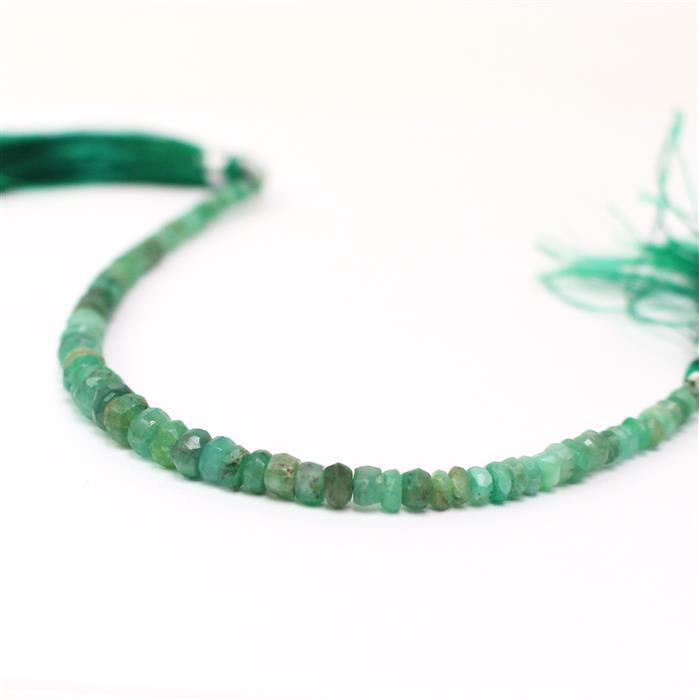 20cts Emerald Graduated Faceted Rondelles Approx 2x1 to 5x3mm, 16cm Strand.