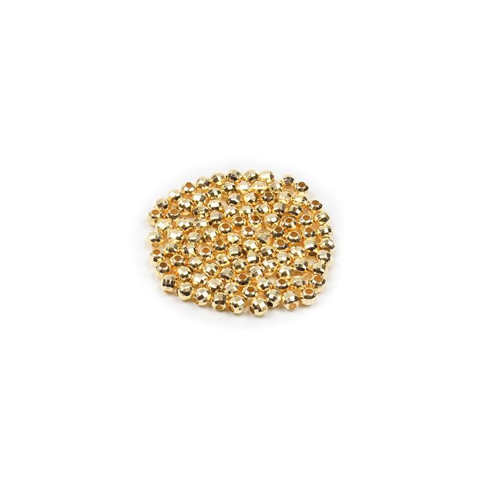 Gold Plated Brass Faceted Beads - 3mm (100pcs/pk)