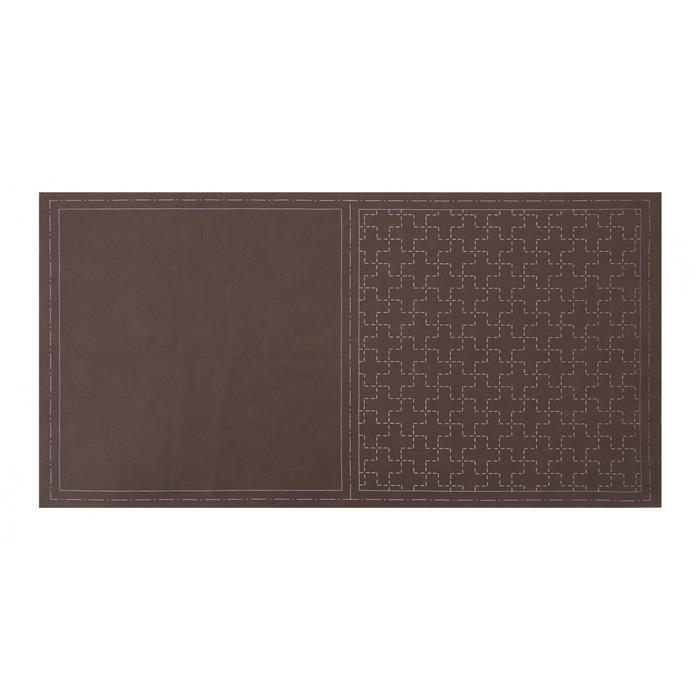 Pre-printed Sashiko Brown Square Panel by Lecien: 32 x 32cm (12.5