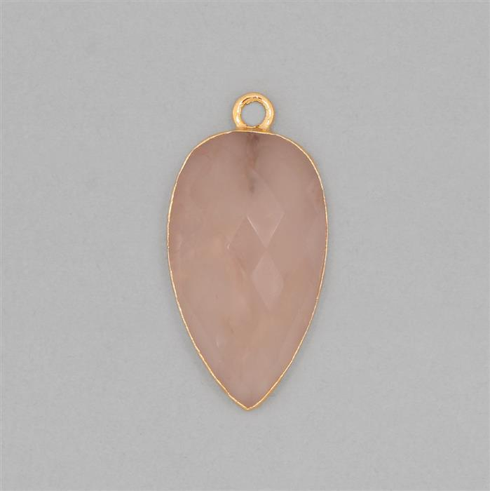 23cts Gold Electroplated Rose Quartz Faceted Pear Pendant Approx 30x16mm With 4mm Loop.(1pcs)