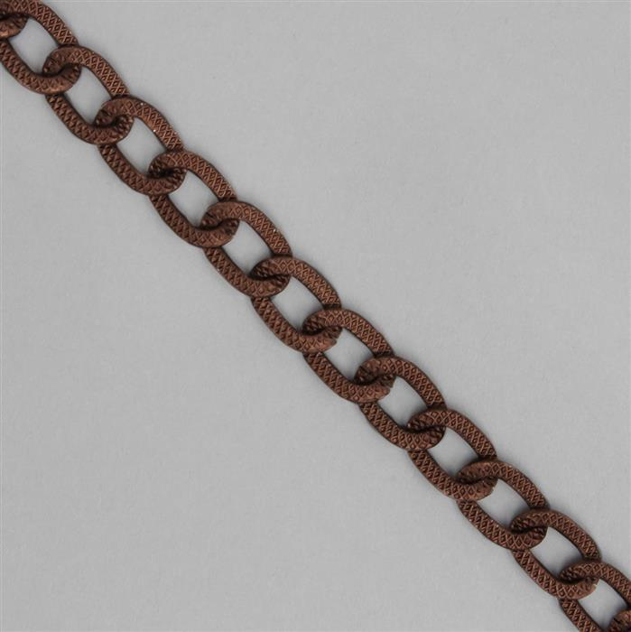 1m Matte Antique Copper Aluminum Chain, Approx 13x9mm