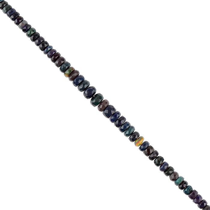 15cts Black Ethiopian Opal Graduated Faceted Rondelles Approx 3x1 to 6x2mm, 16cm Strand.