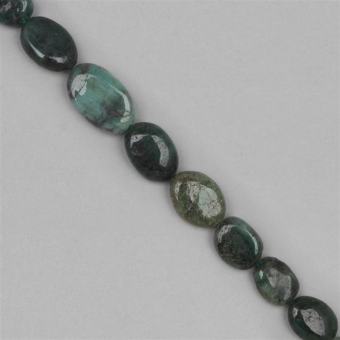 80cts Emerald Graduated Plain Ovals Approx 8x6 to 11x8mm, 25cm Strand.