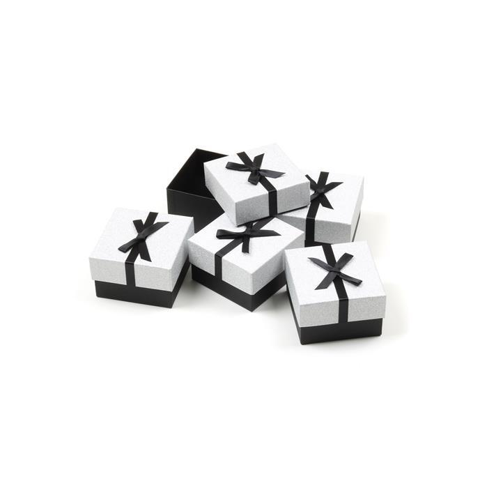 Silver Glitter Watch/Bangle Box with Black Grosgrain Bow Approx 90 x 85 x 55mm (5pk)
