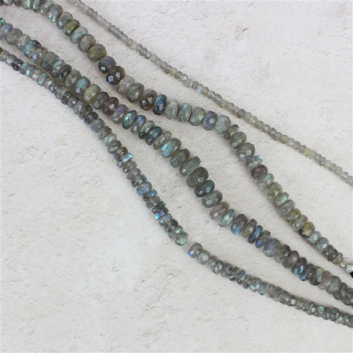 4x Strands of Labradorite Faceted Rondelles over 200cts