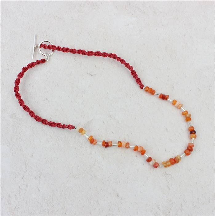 Flames: 1mm drill hole Labradorite ovals & mexican fire opal rondelles with red/grey cords