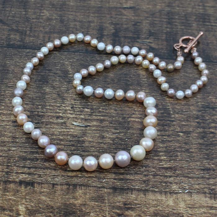 Swoon INC Near Round Multi-colour Freshwater Cultured Pearls, graduated 4 to 9mm & clasp