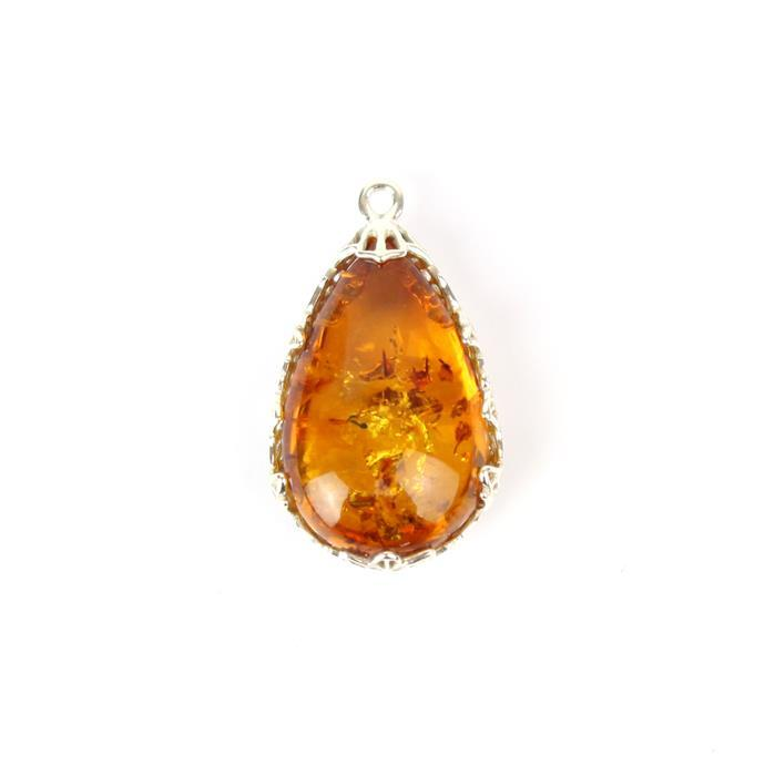 925 Sterling Silver Baltic Cognac Amber Pear Shaped Filigree Pendant Approx 26x15mm