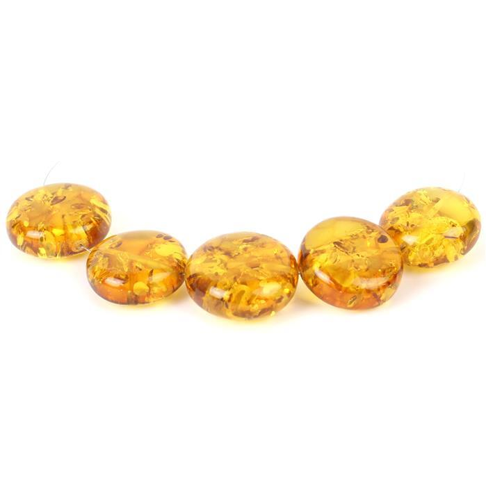 Baltic Cognac Amber Through Drilled Puffy Coins Approx 18-20mm, 5pcs