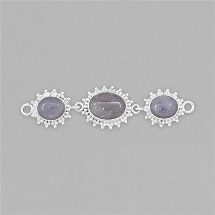 925 Sterling Silver Gemset Triple Linked Connector Approx 73x18mm Inc. 16cts Tanzanite Oval Cabochons