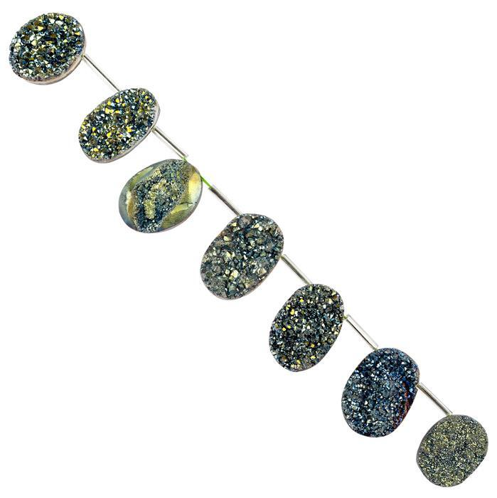 252cts Greenish Blue Colour Coated Druzy Quartz Graduated Ovals Approx 19x14 to 26x17mm, 16cm Strand.