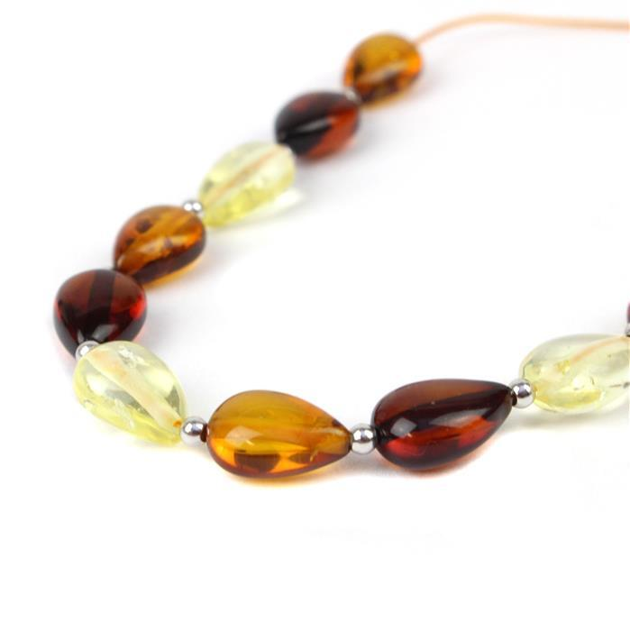 Baltic Multi-Colour Amber Drop Shaped Beads Approx 11x7mm, 20 cm Strand Inc Sterling Silver Spacers