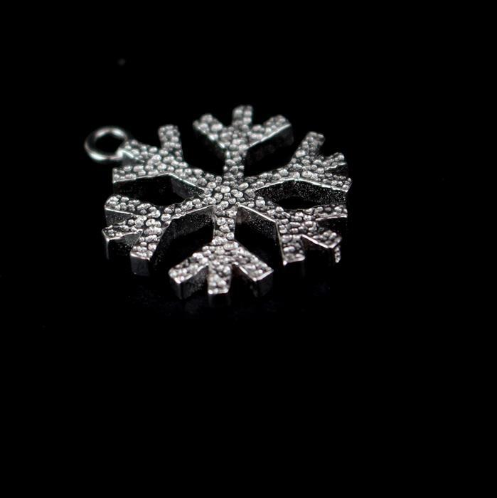 925 Sterling Silver Snowflake Pendant 18mm, 1pc