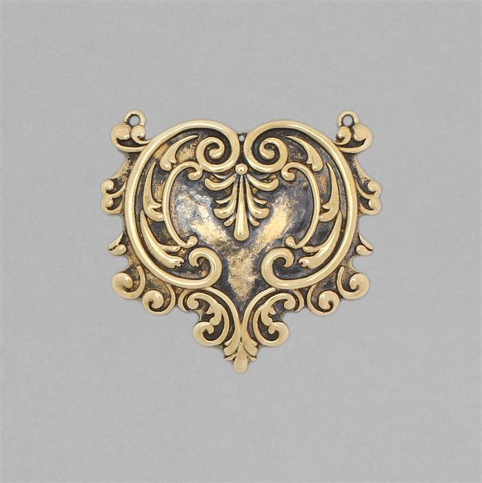 Oxidised Acanthus Heart Antique Brass Connector Approx 37x35mm.