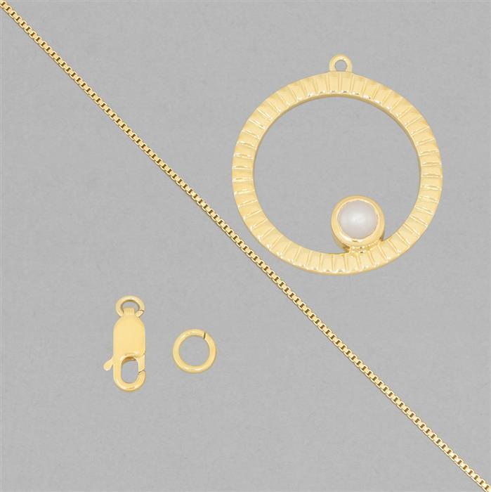 Birthstone Kit: Gold Plated 925 Sterling Silver Birthstone Necklace Kit Inc. Freshwater Cultured Pearl Round Approx 5mm