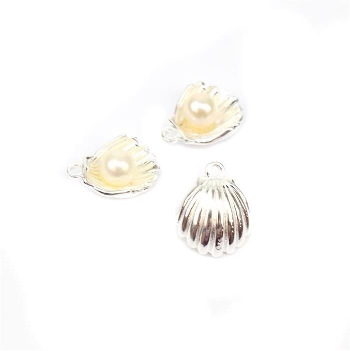 925 Sterling Silver Scalloped Shell Charms With Freshwater Pearl 12x10mm 3pk