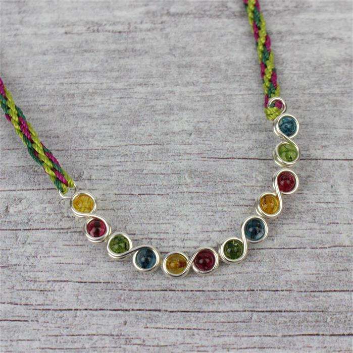 Meadow; 40cts Multi-Colour Quartz, 30cts Green Agate, 1mm Wire & Nylon Cords 0.9mm