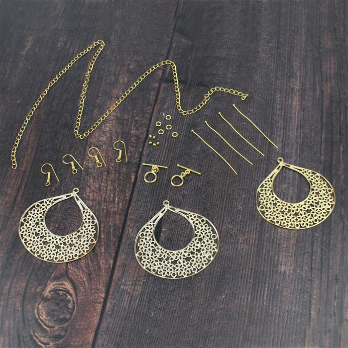 Be Bold with Gold; Italian Gold Plated Base Metal Large Filigree Drops 3pcs & Findings
