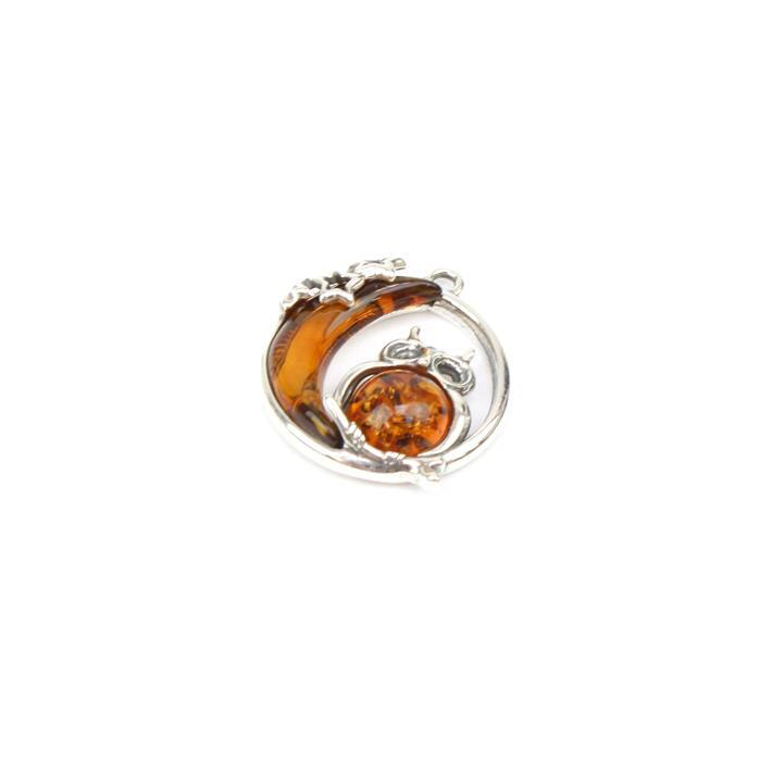 Baltic Cognac Amber Owl & Moon Sterling Silver Pendant Approx 22x19mm