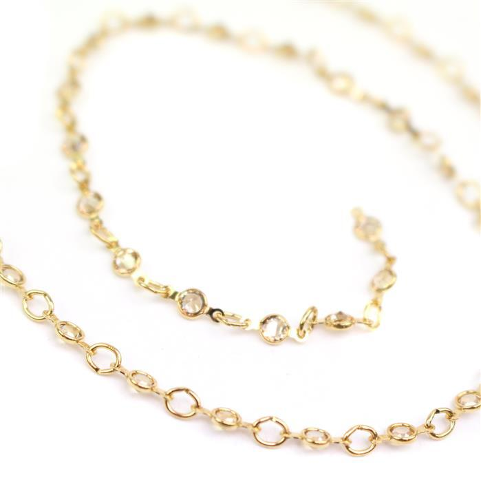Swarovski Small Channel Chain, 90001, Crystal Golden Shadow, Gold, Brushed, 50cm