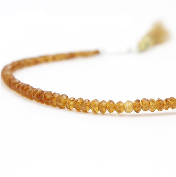 38cts Spessartite Garnet Graduated Faceted Rondelles Approx 2x1 to 5x2mm, 18cm Strand.